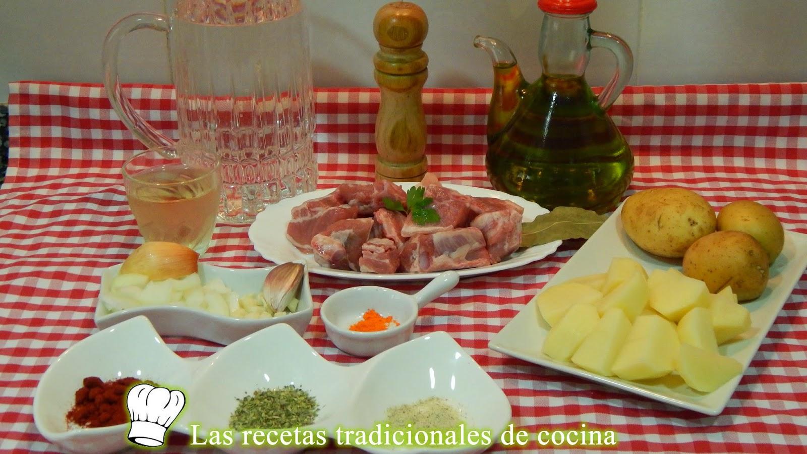 Receta fácil de guisado de patatas con costillas adobadas