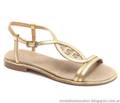 Sandalias de moda doradas verano 2015 Traza Calzado Femenino.