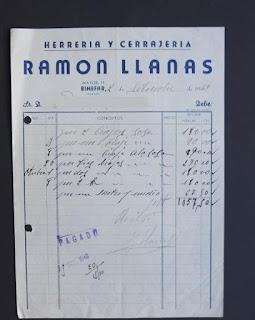 Factura de la Herrería y Cerrajería Ramón Llanas