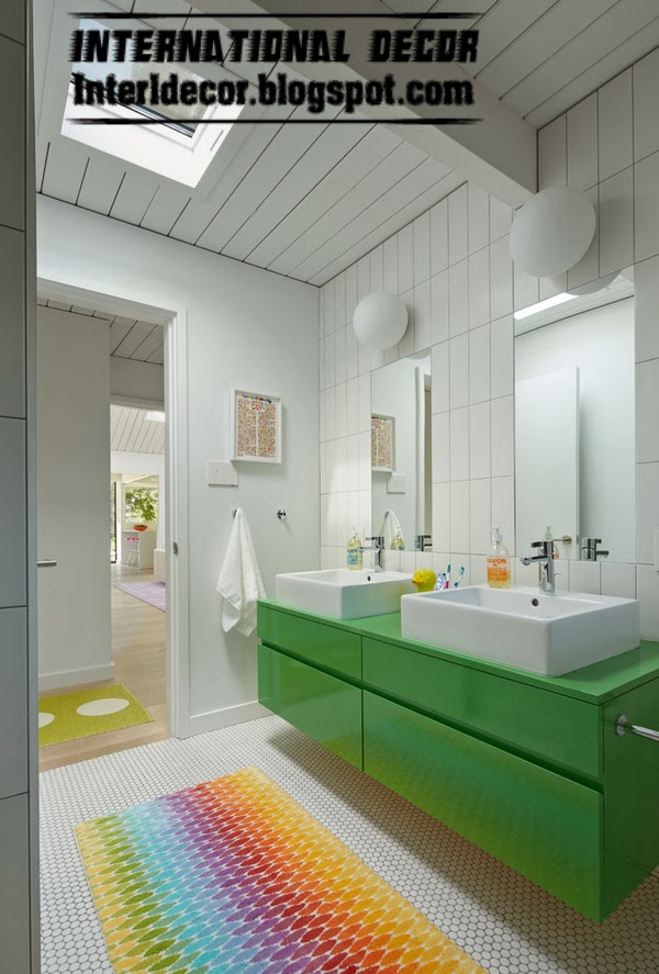 bathroom mosaic floor tiles with colorful rug, floor tiles