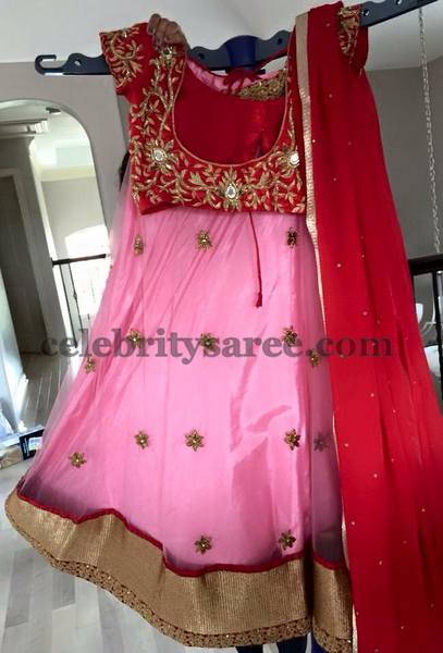 Baby Pink Red Half Saree