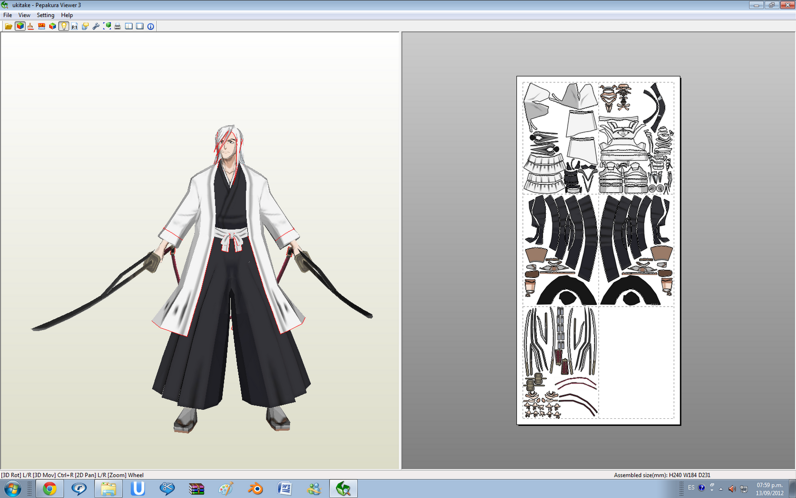 Bleach Ukitake Papercraft