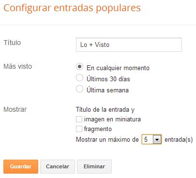 Opciones de configuración widget