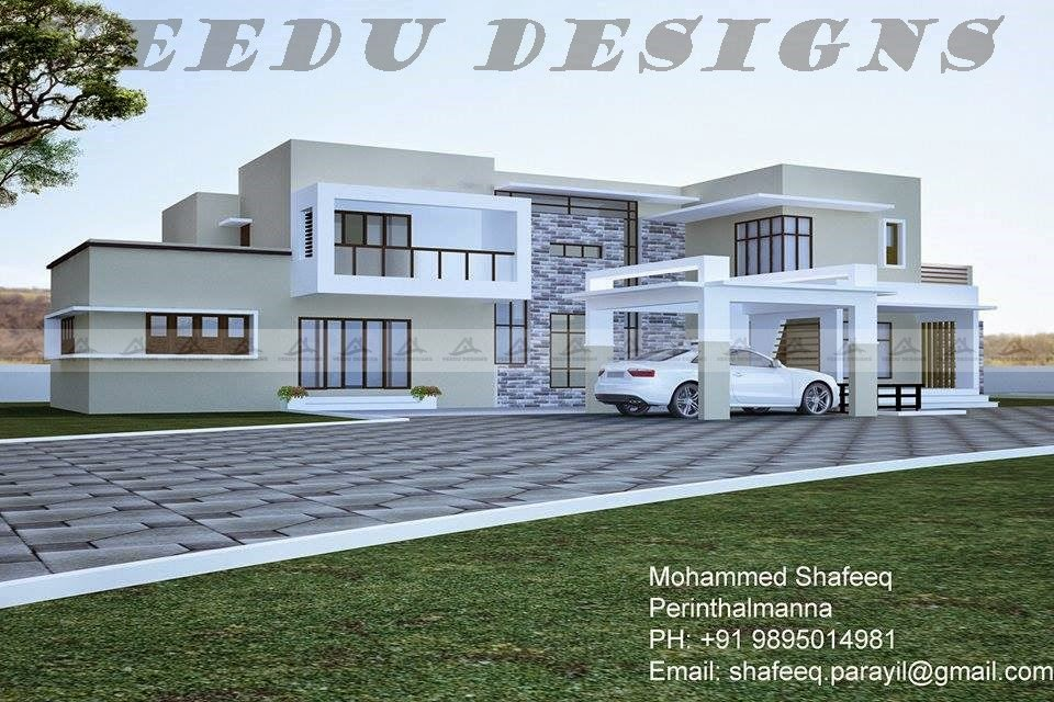 Night view of the above 3d view for Kerala veedu plans