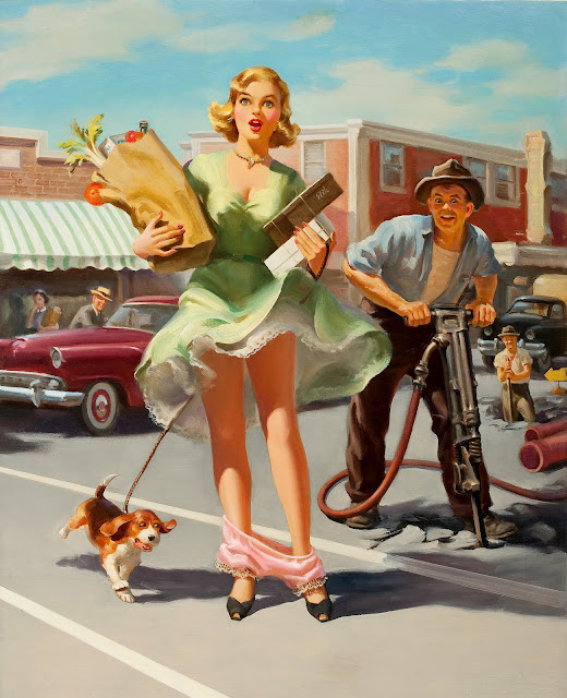 Upped Skirts and Panty Drop Pin Up by Art Frahm