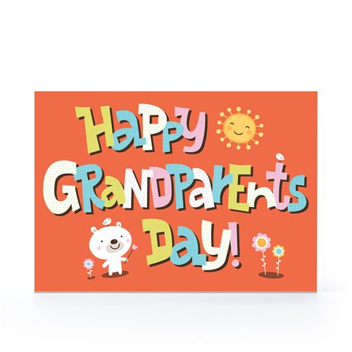 The Cute Bear With Orange Background On Happy Grandparents Day Pictures for Fabook timeline