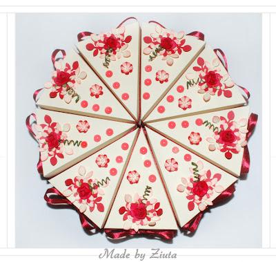 scrapbooking papierowy tortcik, tort z papieru