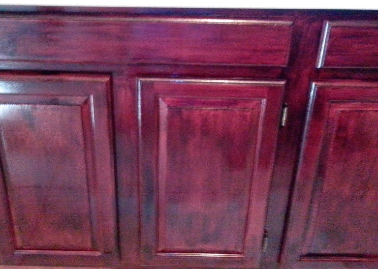 Before and after minwax polyshades pictures to pin on for Bombay mahogany kitchen cabinets