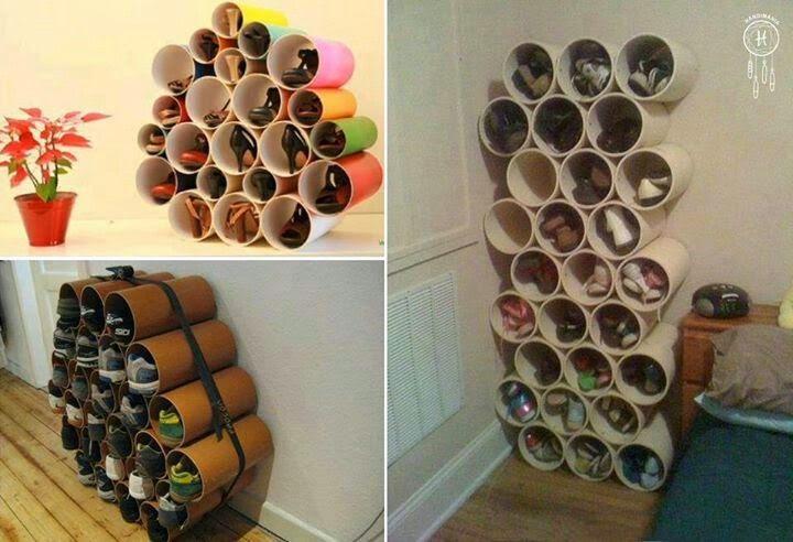 Manualidades creativas y faciles zapatero de tubos de pvc for Rangement pour chaussures fait maison