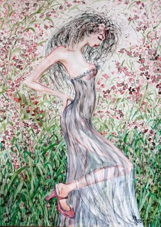 Beautiful Pen and Watercolor Figure, Flowers Foliage, Nature Fine Art on Paper