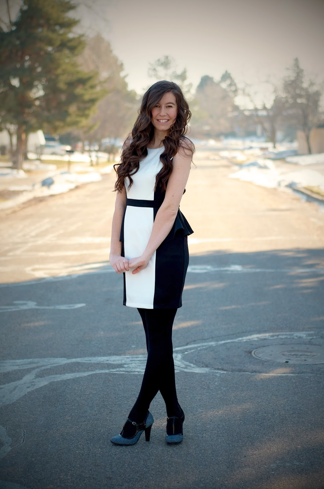 black and white dress, black and white peplum dress, dress, eliason photography, peplum, peplum dress, edward eliason photography, pretty dress, long curly hair, wavy hair, heels, t-strap heels, tstrap heels, high heels,