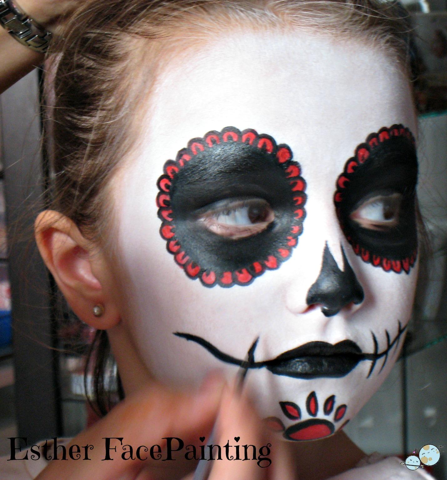 Maquillaje de halloween para ni os calavera mexicana for Cara pintada diablo