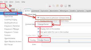 Creating Change File Owner Menu