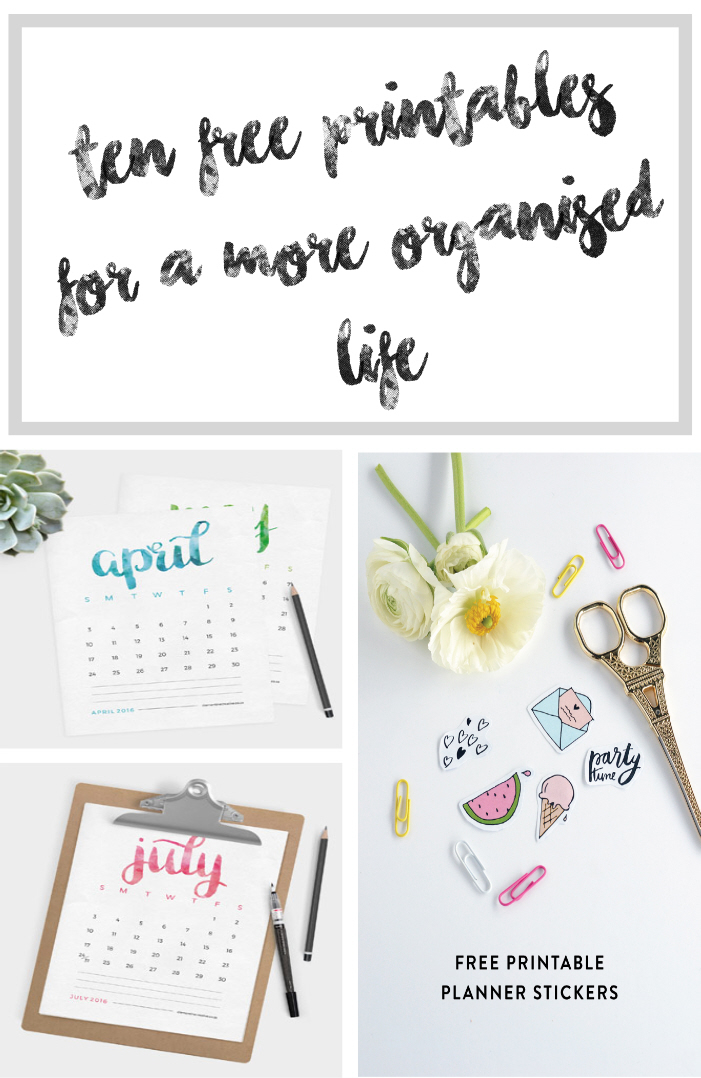 A list of 10 free organisational printables