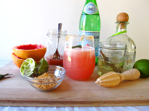 Sparkling Grapefruit Margaritas with Rosemary Simple Syrup