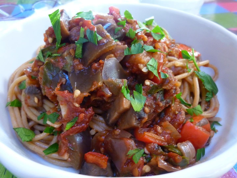 Vegan Eggplant, Portobello Mushroom, Red Bell Pepper, Tomato Sauce On ...