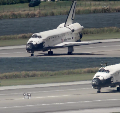 Shuttle Discovery: Stopped on the runway. Technical teams waiting for dissipation of gases. NASA, 2011.