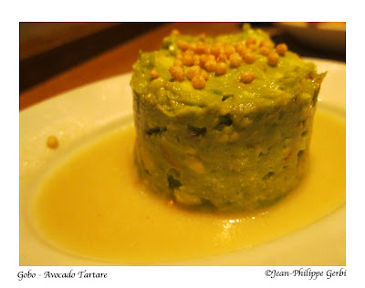 Image of Avocado tartare at Gobo Vegetarian restaurant in NYC, New York