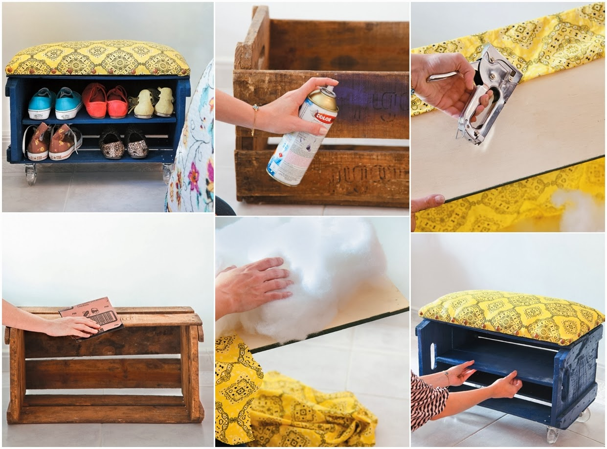 diy projects storage diy shoe storage bench using a fruit crate diy craft