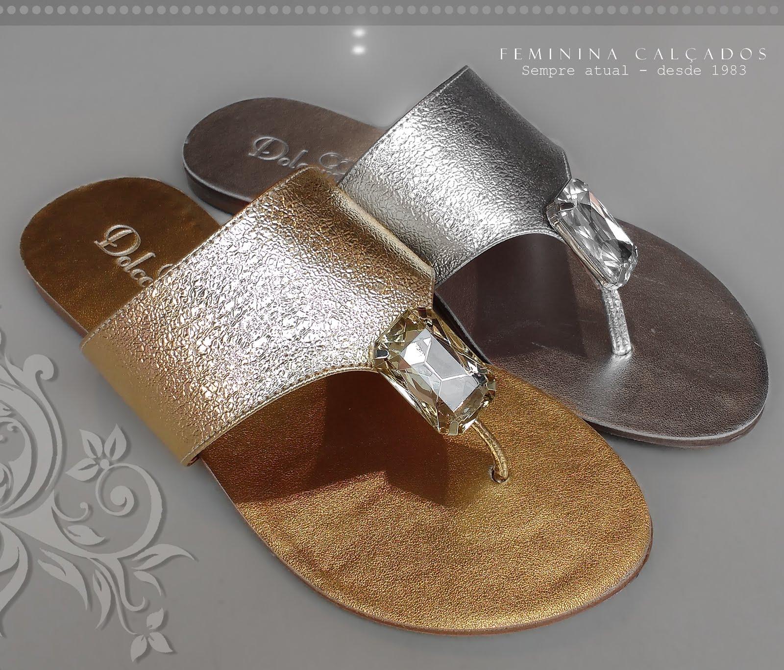 Rasteira Dolccini metalizado ouro e prata
