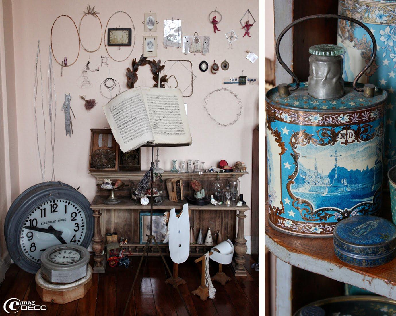 Horloge de gare et pendules Brillié et gourde isotherme ancienne de Lourdes fin XIXème début XXème
