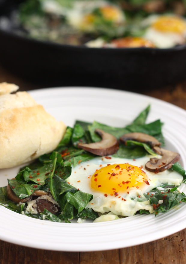 Skillet Collards with Mushrooms and Eggs | Season with Spice