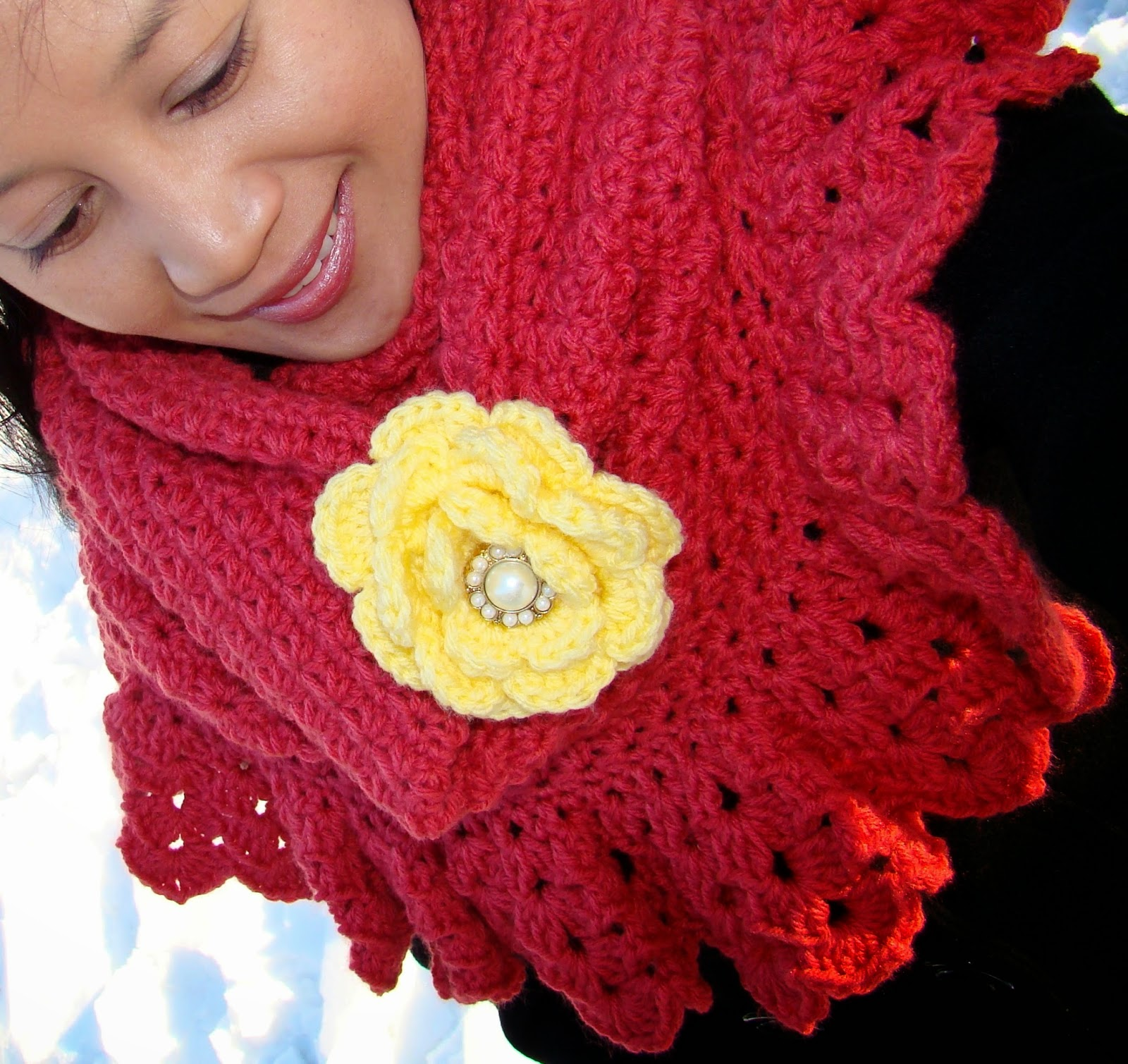 Yellow Flower Stitch Infinity Scarf