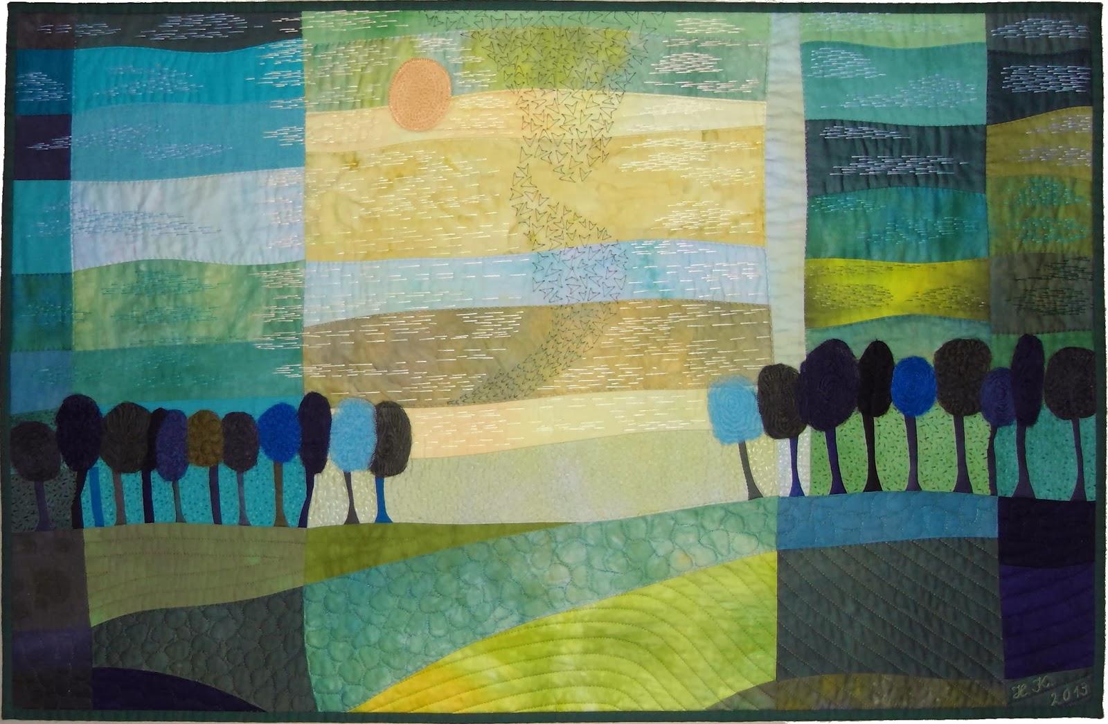 Sigrid quiltet handgef rbt 2014 das erste wochenende - Wandbilder aus stoff ...