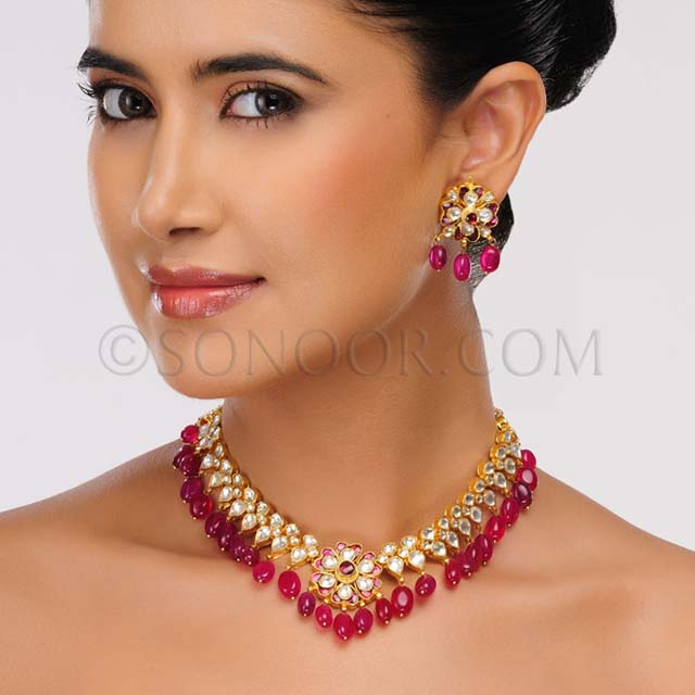 Gold Fashion Beautiful Party Wear Necklace By Sonoor Jewels
