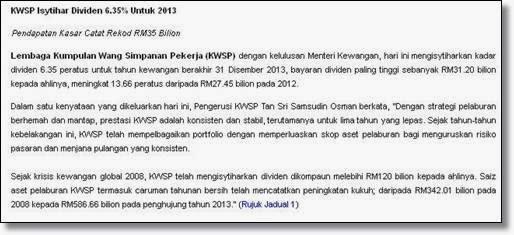 Keratan Berita Mengenai Dividen 6.35 Peratus Terhadap Caruman KWSP 2013