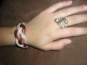 pulsera y anillo de cuero blanco y cobre