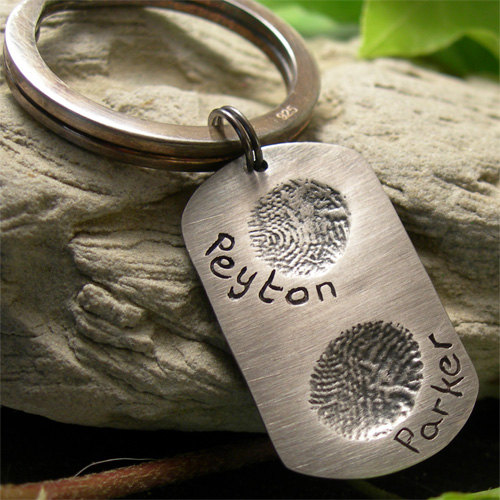 Silver Fingerprint Dog Tag Keyring, Personalised Two Fingerprint Dog Tag 