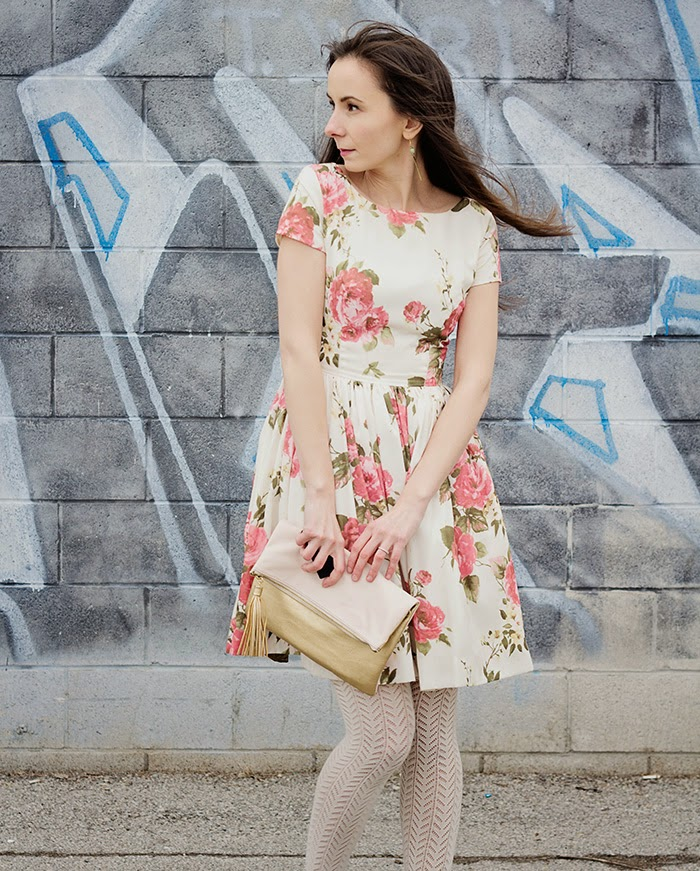 Fit-flare-floral-dress-bow-wedges-womens-fashion