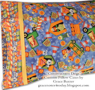Construction Dogs, custom pillow cases by Grace Baxter