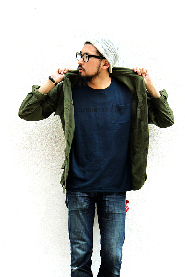"Stevenson Overall Co.  ""Stencil Print T-Shirt Exclusive for Green Angle #1"" Navy size M 5,940yen"