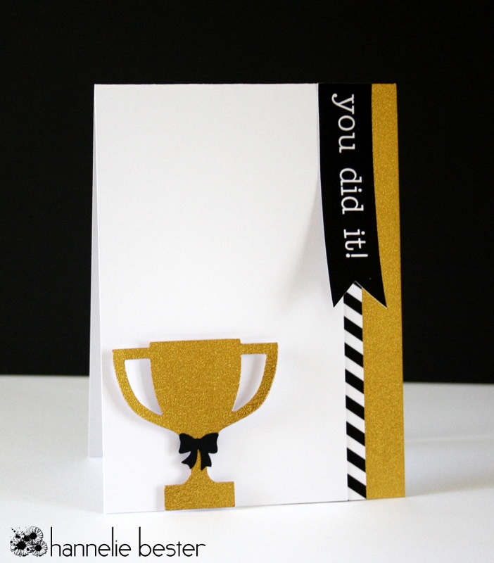You did it card in black gold and white