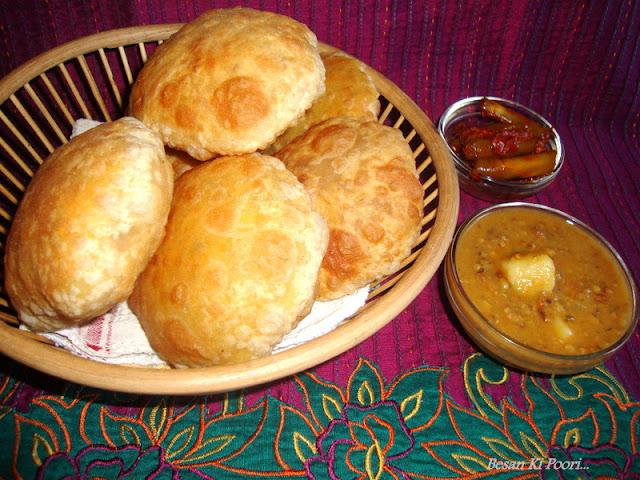 Besan Ki Poori recipe / Besan Poori recipe / Besan Puri  recipe/ Chickpea Flour Bread