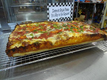 Detroit style pizza- 3 meat with veggies