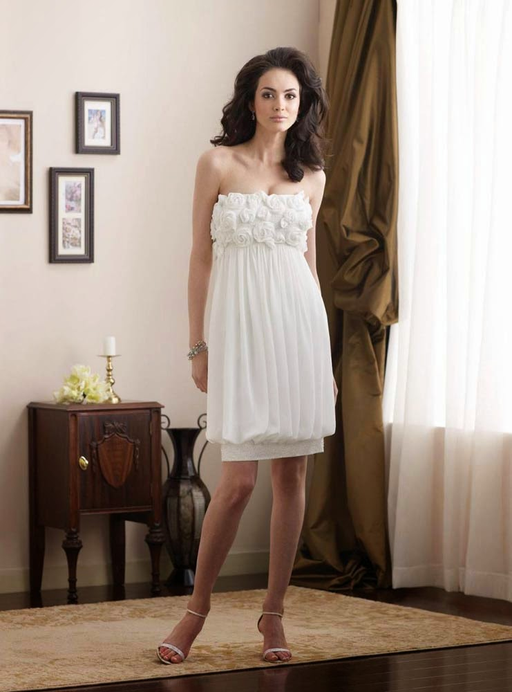 Informal White Rose Wedding Dresses Short for Beach Design pictures hd