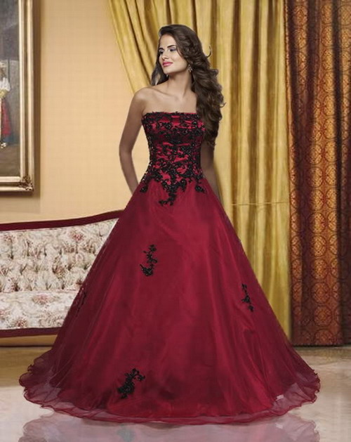 Winter flower lace up gothic wedding dress