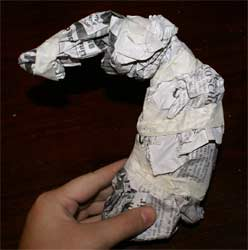 newspaper armature for a horse sculpture