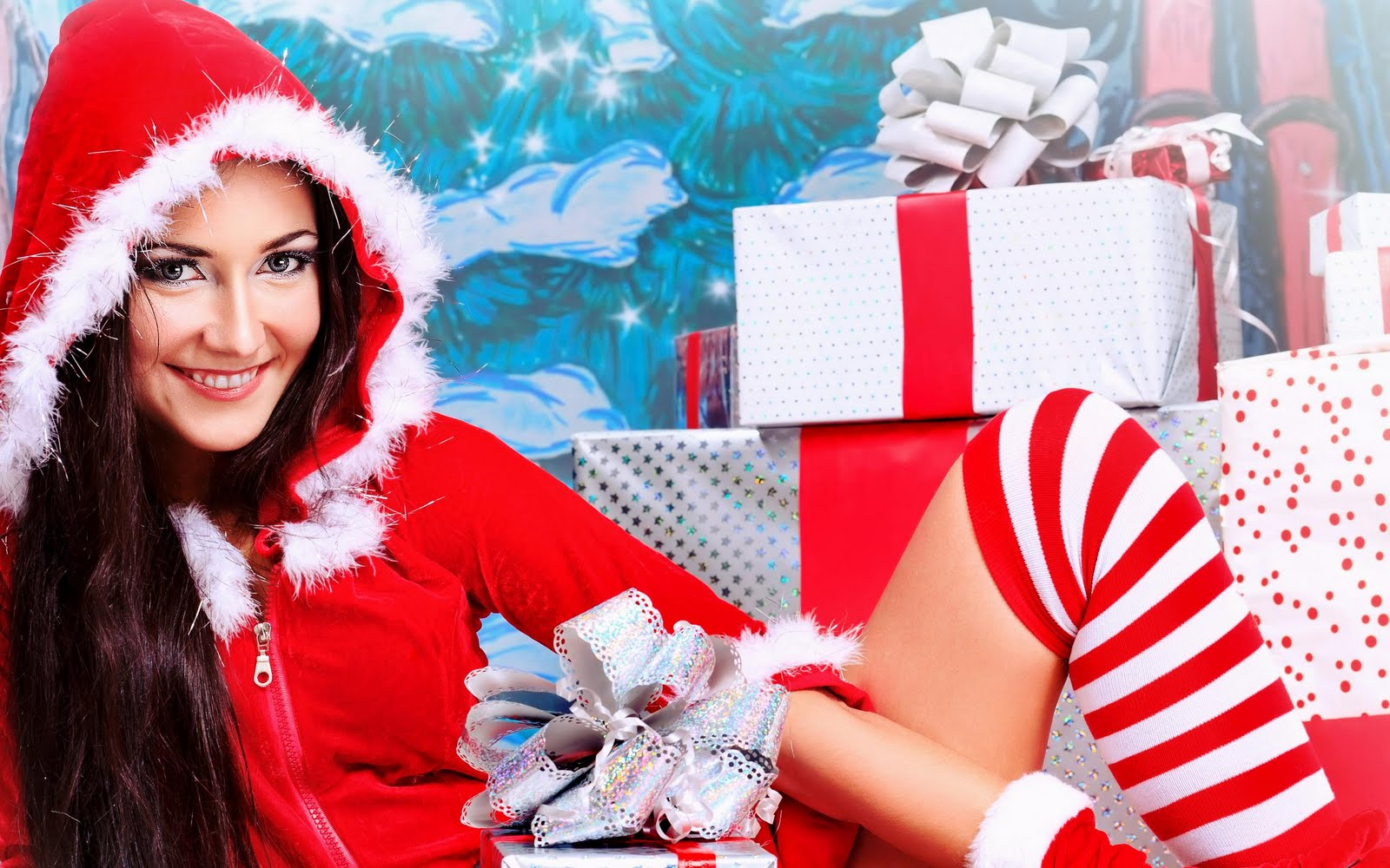 Happy New Year Wallpapers And Merry Christmas Santa Girl Cute Girls