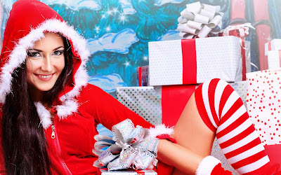 Happy New Year wallpapers and Merry Christmas Wallpapers santa girl cute girls