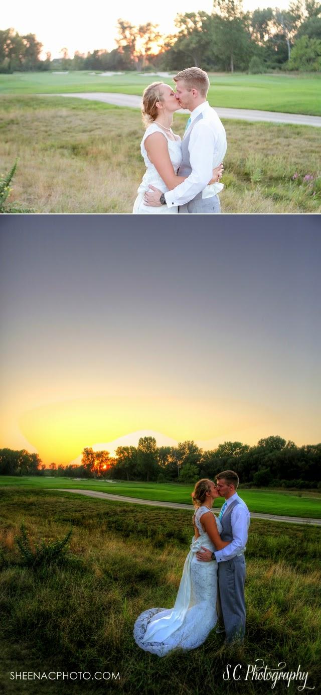 Sunset wedding Harbor Shores Golf Course tent