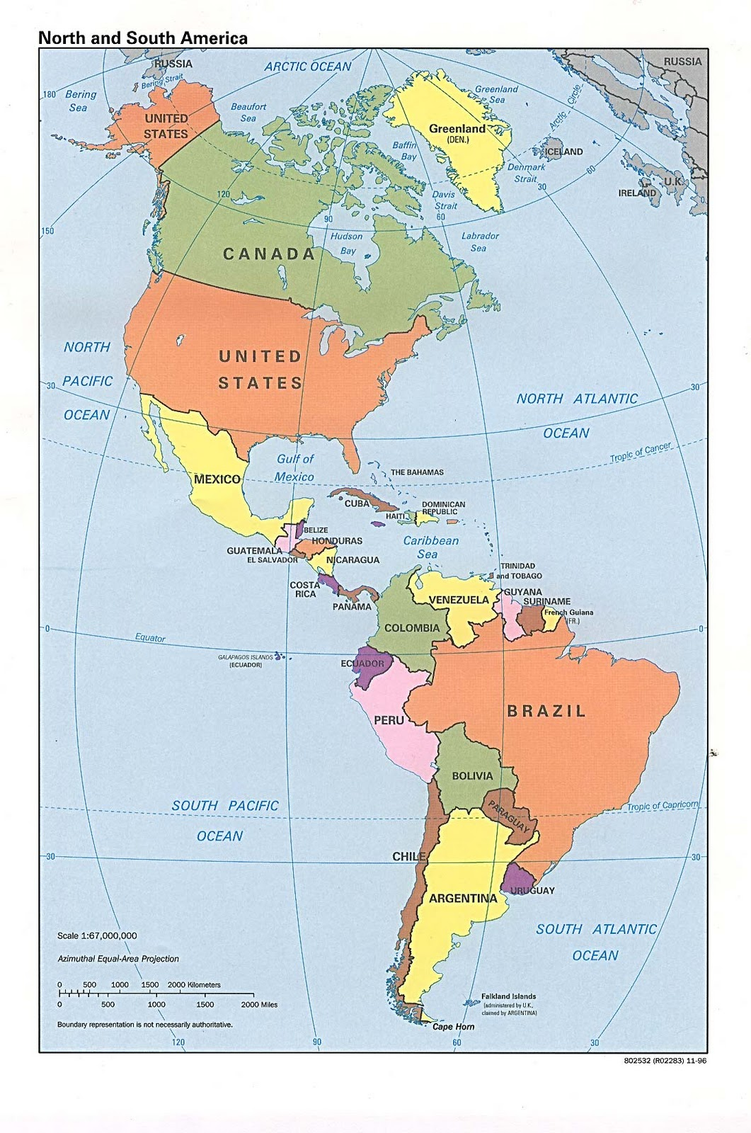 North South America Map
