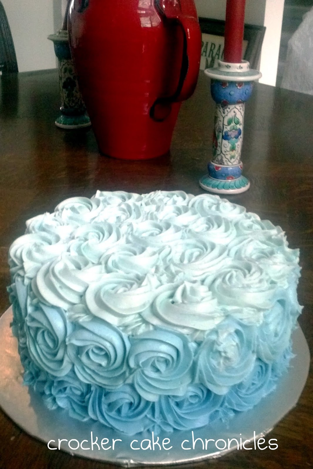 Ombre Rose Cake and Whipped Cream Frosting