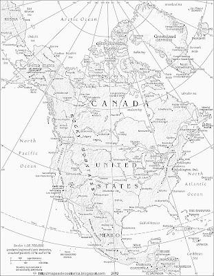 Mapa fisico-politico de Norteamerica, Blanco y negro