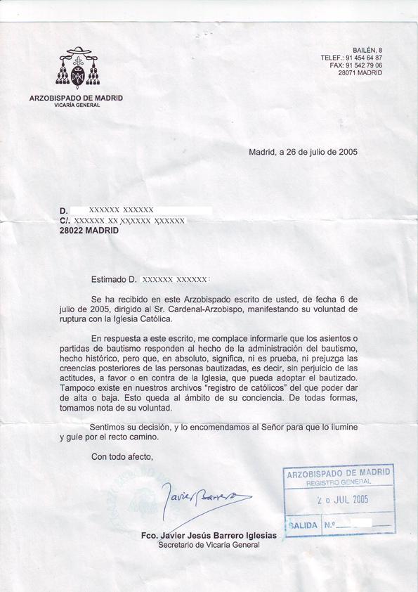 """Imagen 2 """"Respuesta del Arzobispado de Madrid"""""""