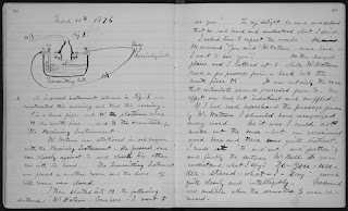 page from Alexander Graham Bell's journal with notes about the first phone message transmitted