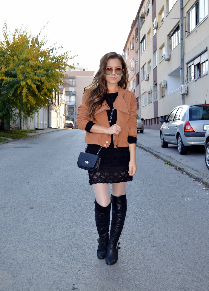 outfit, sponsored, suede skirt jacket vest boots, suede, brown faux suede jacket, over the knee boots, gradient color sunglasses, fall trend 2014